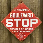 Vintage Police Dept Southern California Auto Club Porcelain Socal Gas Stop Sign