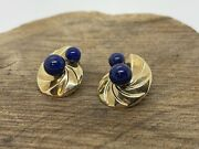 Vintage Large 14k Gold Fluted Blue Lapis Shell Style Earrings