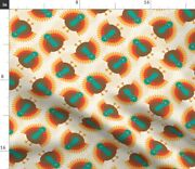 Red Brown Orange Turquoise Autumn Fall Turkey Spoonflower Fabric By The Yard