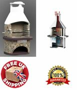 Outdoor Pizza Oven Bbq Grill Wood Fired Chimney Barbecue Masonry Cook Patio Heat