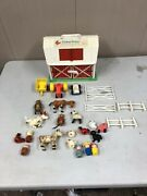 Vintage Fisher-price Family Play Farm And Animals Little People Fence Etc Lot