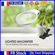 Magnifier Clip-on Lighted Table Desk Led Clamp Lamp 2x 5x Magnifying Glass