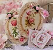 Shabby Chic Vintage Country Cottage Style Wall Decor Sign Vintage Roses Set