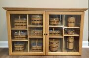 Longaberger Display Wall Cabinet And All 12 J.w. Collectors Club Mini Baskets