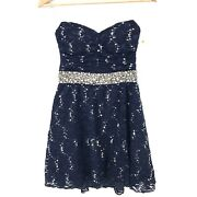 My Michelle Strapless Cocktail Homecoming Prom Dress Navy Lace Rhinestones 7