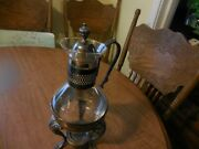 Silver Plate And Glass Coffee Carafe, Silver Plated Warming Stand, Mid Century,