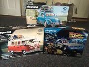 3 New Playmobil- Volkswagen Camping Bus, Beetle, And Back To The Future Delorean