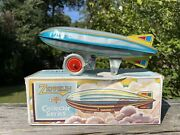 Vintage Schylling Graf Zeppelin Tin Litho Wind Up Toy With Original Box Works