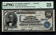 1902 50 National City Bank Los Angeles Ca Pmg 25 Two Digit Serial 14 Ch12410