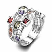 Costume Jewellery Mixed Lots 10pcs Colorful Zircon Lady's Rings