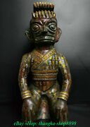22old China Bronze Silver Gilt Fengshui Inscription Sanxing Dui People Statue