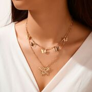 Vintage Multilayer Pendant Butterfly Necklace For Women Butterflies Moon Star Ch
