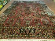 9' X 12' Authentic Antique Oriental Floral Red Allover Medallion Wool Rug Beauty
