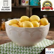 The Pioneer Woman Farmhouse Lace 10-inch Serving Bowl, Linen Fast Shipping Us