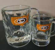 Vintage A And W Root Beer Mug Clear Glass United States Logo - Heavy 8oz And 4oz