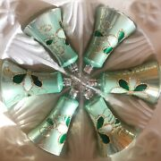Set 6 Vintage Hand Painted Light Green Glass Bell Christmas Tree Ornaments
