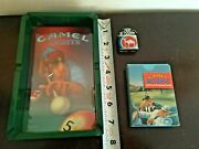 Vintage Camel Mini Cigarette Lighter Pool Table Ash Tray And Playing Cards Lot