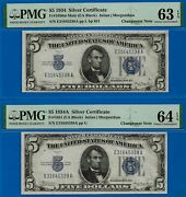 Crazy Rare - 1934/1934-a 5 S/c Only 2 Known - Changeover Pmg 64 And 63epq-