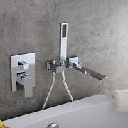 Waterfall Wall Mounted Bathtub Faucet With Hand Shower Swivel Tub Chrome