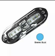 Set Of Two Shadow-caster Scm-6 Led Underwater Lights W/20and039 Cables Ss Case Blue