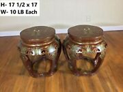 Set Of 2 Vintage Antique 20th Century Chinese Red Lacquer Low Table Or Stool