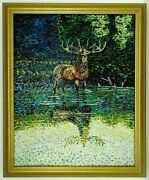 M.jane Doyle Signed Orig. Art Oil/canvas Painting Call Of The Wild Elk Fr.