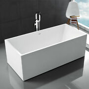 67 Acrylic Freestanding Bathtub Contemporary Soaking Tub With Overflow And Drain