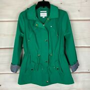 Charter Club Water-resistant Hooded Womens Size Small Casual Green Anorak Jacket