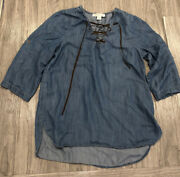 Karen Kane Top Chambray 3/4 Sleeve Lace Up Womens Size M