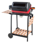 Rolling Electric Grill Cart Wheeled Wooden Shelf Cooking Accessory Home Use 41in