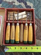Vintage Millers Falls Set Of 5 Wood Chisels Carving Tools In Original Box Usa