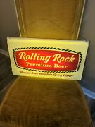 Vtg Rolling Rock Premium Beer Lighted Sign Latrobe Brewing Co Pa 2 Sided Sign