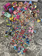 Huge Polly Pocket Lot 40+ Dolls Cars Clothes Pets Disney Furniture Shoes And More