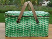 Vintage Green And White Metal/tin Wicker-look Litho Picnic Basket Wood Handles