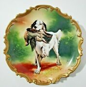 Antique Limoges Wall Charger English Setter Hunting Artist Signed By Artist 13