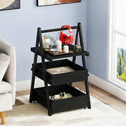 Industrial End Table Nightstand With Metal Frame And Storage Shelves Side Table