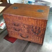 Antique Japanese Wooden Small Drawer 4 Drawers Lacquer Sewing Box From Japan
