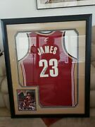 Lebron James Autographed Framed Clev Cavaliers Rookie Jersey Ga Authenticated