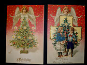 Two Antique Emb Christmas Postcards -- 2 Childrentree And Angel Variation Mint