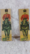 Three Antique Skittle Toy Cossack Soldiers Paper On Wooden Stands 6.5 Tall