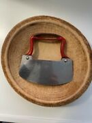 Antique Vtg Acme Mfg Co Stainless Steel Food Chopper Cutter And Mumsing Wood Bowl