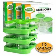Glass Baby Food Containers 12 Pack - 2oz Jar Container Includes Lids, Storage