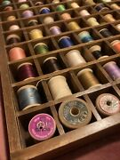 Wooden Thread Spools Vintage Antique Sewing Spools 100 And Display Craft Thread