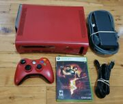 Xbox 360 Elite Resident Evil 5 Limited Edition 120gb Red Console Bundle + Tested