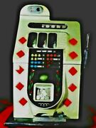 Antique Mills Slot Machine 5 Cents Red Diamond Silver Great Working Order