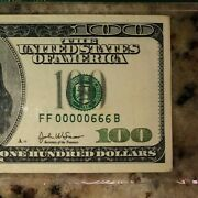 2003a 100 Dollar Bill Us Federal Reserve Note Pmg 35 Low Serial Devil 00000666