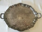 Antique Reed And Barton, Large Footed Silverplate Serving Tray, Winthrop Pattern