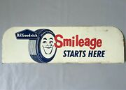Vintage B.f. Goodrich Deluxe Silvertown Tires Smileage Double Side Metal Ad Sign