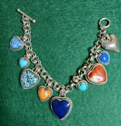 Artie Yellowhorse Signed Sterling Silver Multi Stone Heart Charm Bracelet Toggle