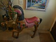 Hand Carved And Paintedandnbspof-one-piece Solidandnbspwood Horse Sculpture By J W Madrigal